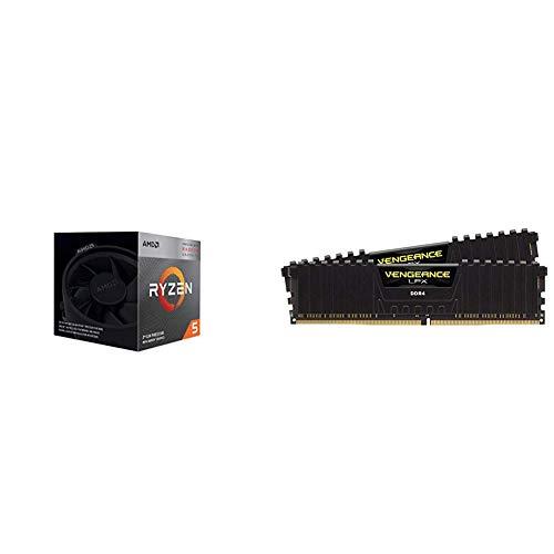 AMD Ryzen 5 3400G 4,2GHz AM4  6MB Cache Wraith Spire + Corsair Vengeance LPX 16GB (2x8GB) DDR4 3200MHz C16 XMP 2.0 High Performance Desktop Arbeitsspeicher Kit (für AMD Ryzen) schwarz