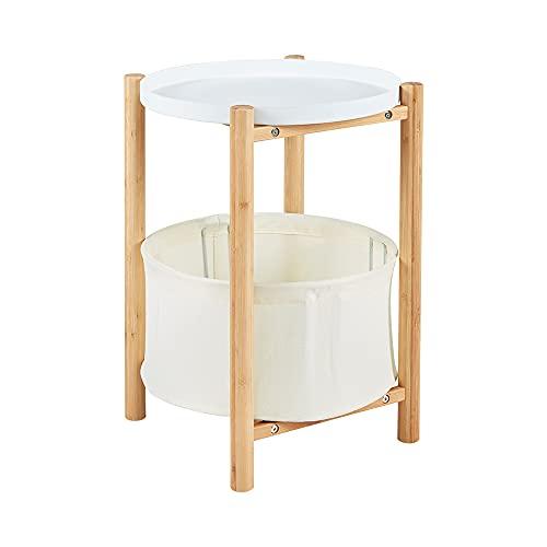 Mesa auxiliar Zen de bambú con cesta de almacenamiento para sala de estar, color gris