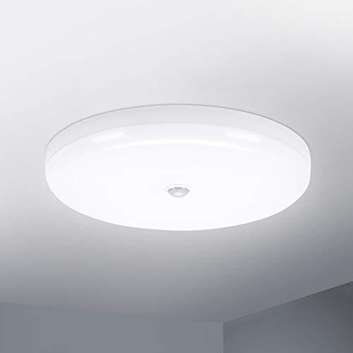 Combuh LED Lámpara de Techo con Sensor de Movimiento 30W Impermeable IP56 Blanco Frío 6000K 2400Lm Fácil de Instalar Plafon LED para Cocina, Baño, Oficina, Porche, Garaje Ø25Cm