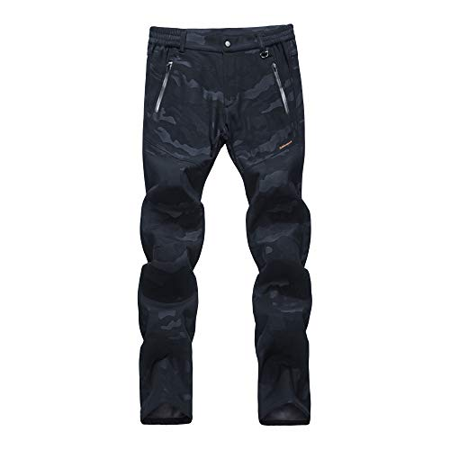 LY4U Mujer Pantalones de Senderismo con Forro Polar Softshell Al Aire Libre...