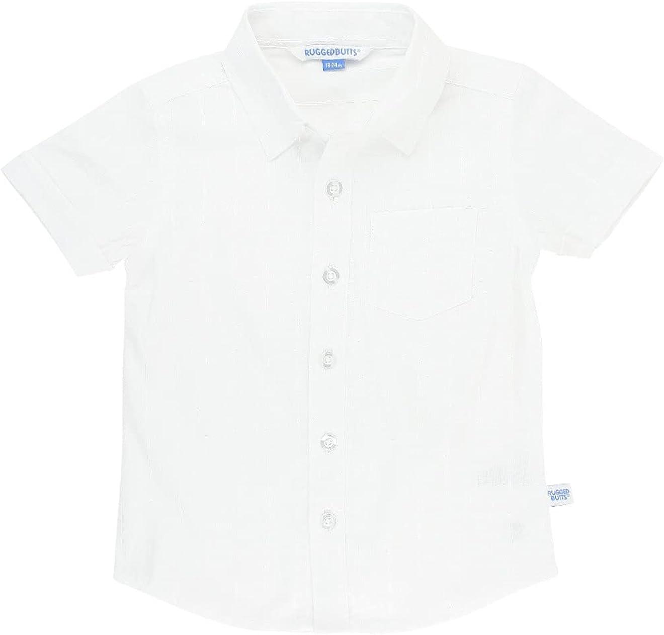 RUGGEDBUTTS Boys Toddler White Dobby - low-pricing Woven Sleeve Shirt Under blast sales Short