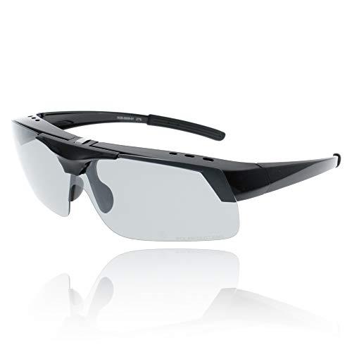 AREA ONE エリアワン 跳ね上げ式 偏光サングラス メガネの上からかけられる オーバーサングラス SG-AS015 (Shiny Black, Green Smoke POLA Flash Mirror)