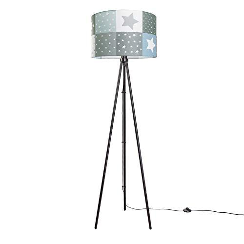 Kinderlampe LED Stehlampe Kinderzimmer Lampe Sternen Motiv, Stehleuchte E27, Lampenfuß:Dreibeinig Schwarz, Lampenschirm:Blau (Ø45.5 cm)