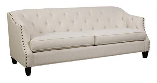 Amazon Brand – Stone & Beam Rosemont Vintage Tufted Sofa Couch with Nailheads, 88'W, Cream
