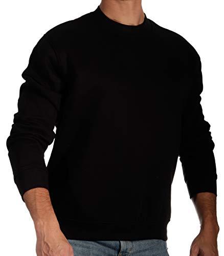 13MW Sudadera Básica Hombre   Estilo Clásico   Algodón   Cuello Redondo (Negro, M)