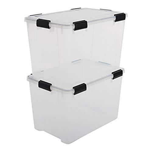 Iris Ohyama, 2er-Set luftdichte Aufbewahrungsboxen - All-Weather AT-LD - plastik, transparent, 2 x 70 L, L59 x B39 x H38 cm