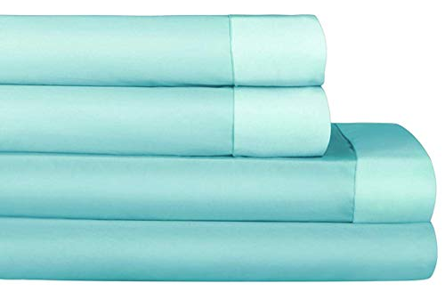 AURAA Comfort 500 Thread Count 100% Performance Cotton Sheet Set -Reversible Queen Sheets -4 Piece Set,Soft & Smooth Sateen Weave,Up to 16' DEEP Pocket,Luxury Hotel Bedding, Seaglass