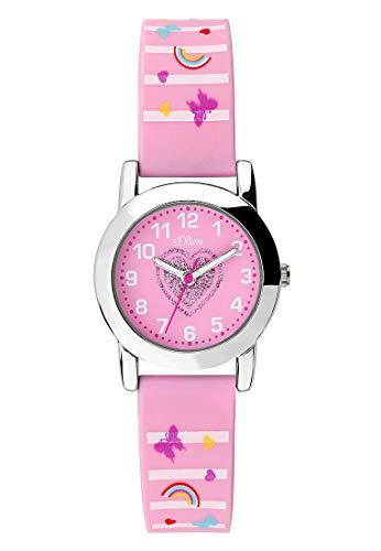 s.Oliver Mädchen Analog Quarz Uhr mit Silikon Armband SO-3724-PQ