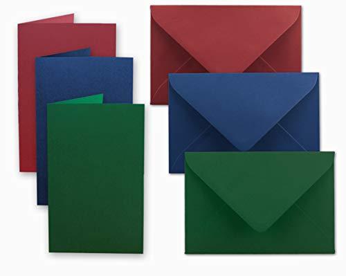 Carta pacchetto DIN A6/C6| Rosso scuro/Blu scuro/verde scuro | notelets con Fold A6-10,5x 14,8cm & buste C6-11,5x 16cm | Ideale per Natale, biglietti di auguri e inviti