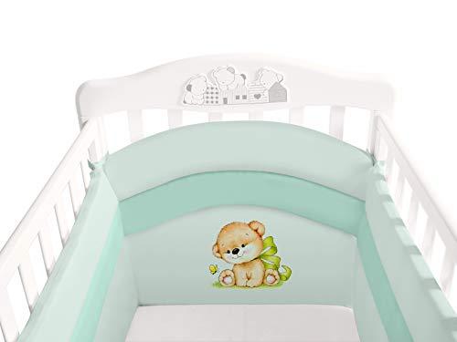 Nestchen für Kinderbett, 4 Seiten, Höhe 45 cm, extra Polsterung 3 cm, Nestchen für Kinderbett mit Rundumschutz für Neugeborene – 2. Generation – Easyavant® – Babycaress (140 x 70 cm, Grün)