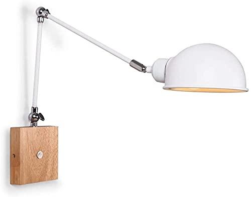 Lámpara de pared simple y fresca Lámparas de mesa Luz de pared con interruptor de madera sólida Soporte de lámpara de hierro Color elegante/alta dureza/no resistente a la grieta/abrasión/remov