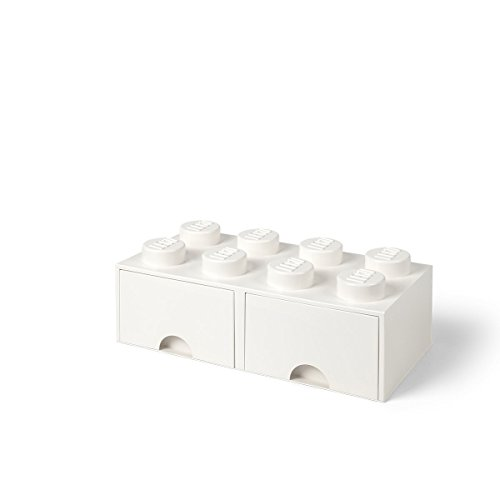 Room Copenhagen 40061735 Caja de Almacenaje Apilable, Ladrillo 8 pomos, 2 Cajones, 9.4 l, Blanco (White), 50 x 25 x 18 cm