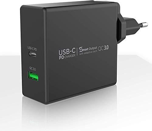 Vetter Fast Travel USB Stecker Ladegerät mit PD-Aufladung 60 W Dual Port USB C und Fast Charge 3.0, Kompatibel mit iPhone 11 Pro XR XS Max, Galaxy, iPad, Tablets Schwarz