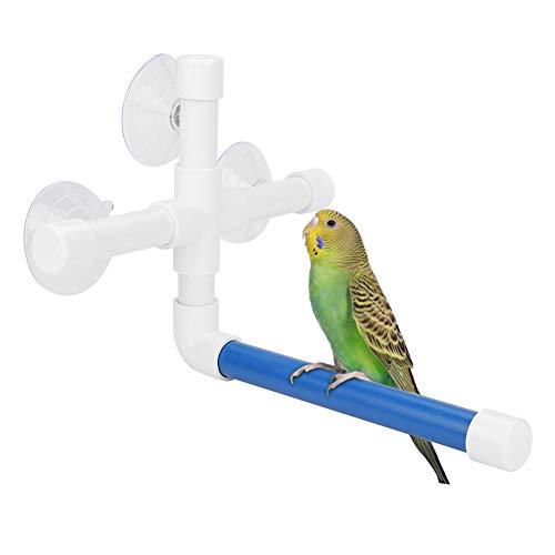 HEEPDD Vogel Douche Perches, Zuignap Raam en Bad Perch Papegaai Plastic Buisstandaard Speelgoed voor Macaw Cockatoo Afrikaanse Grijzen Budgies Parakeet