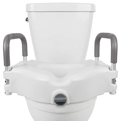 Product Image of the Vive Raised Toilet Seat - 5' Portable, Elevated Riser with Padded Handles - Elongated and Standard Fit Commode Lifter - Bathroom Safety Extender Assists Disabled, Elderly, Seniors, Handicapped (1)