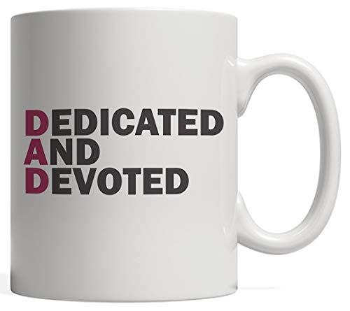 DKISEE DAD betekenis gewijd en toegewijd - grappige citaat zeggen grapje cadeau voor Vaderdag met koele koffie mok van papa trots dochter of zoon 15oz Kleur: wit