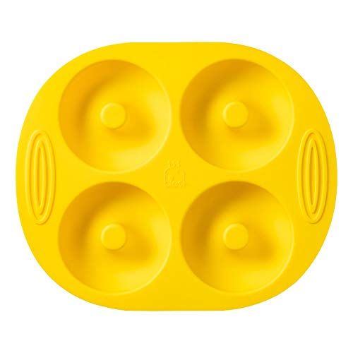 Blest Silicone Donut Pan for Baking 4 Full-Size Doughnuts and Bagels,Easy to Pop Out and Non-Stick,Handles are Non-Slip and heat insulation,Oven-Safe Up to 446℉,BPA Free,Dishwasher Safe., Yellow