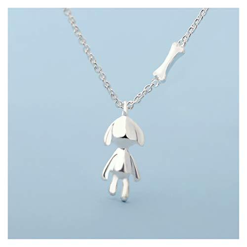 kerryshop Collar de Mujer Collar Female Sterling Silver Clavícula Cadena Puppy Niche Design Colgante Joyería Amantes Cumpleaños Día de San Valentín Regalo Collar