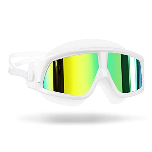 WANGYA Gafas de natación Gafas de natación Cómodo Silicona Nadar Gafas Anti-Niebla UV Hombres Mujeres natación máscara Impermeable Gafas de natación Profesional (Color : Mirrored White)