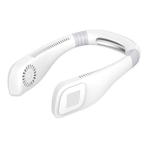 Mogzank Ventilador Cuello Sin Cuchillas, Ventilador Deportivo Manos Libres Enfriamiento de 360 Grados, Ventilador Personal USB, Enfriador Aire con DiseeO Auriculares - Blanco