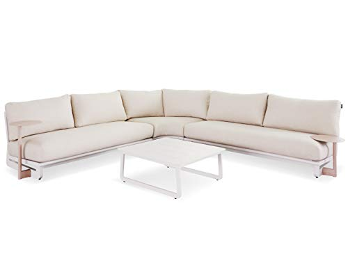 LANTERFANT Ralph, sofá esquinero, lujoso, acolchado impermeable, marco de aluminio, Clay, tono, crudo, gris