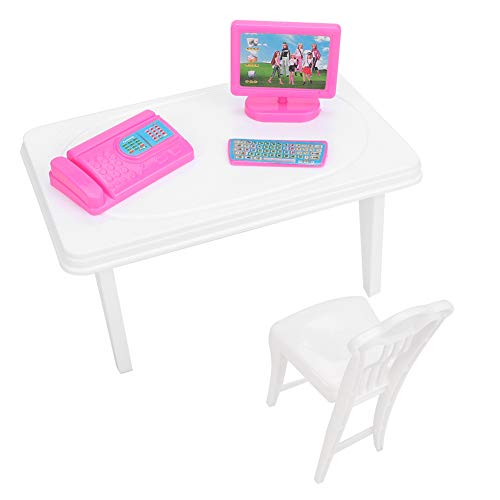 Juego de escritorio para casa de muñecas, mini silla de escritorio, teclado de computadora, máquina de fax, accesorios para muebles de casa de muñecas para juegos de 0 a 6 años de juego