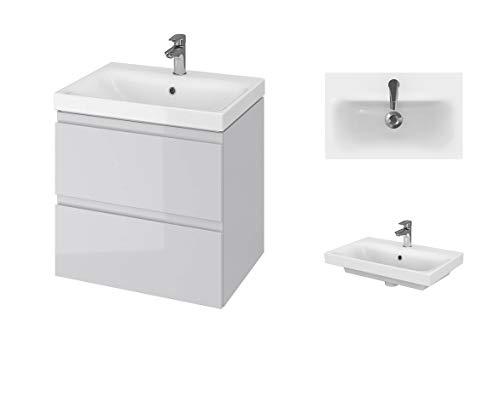 VBChome Badmöbel 60 cm Grau Waschbecken mit Unterschrank Slim Waschtisch 2-Schubladen Moduo