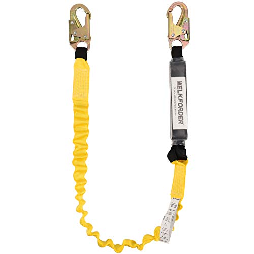 WELKFORDER 6-Foot Shock Absorber Stretchable Safety Lanyard with Double Snap Hook Connectors ANSI Z359.13-2013 Compliant Fall Protection Equipment