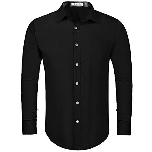 Sykooria Heren business overhemd katoenen Klassieke Shirts Lange Mouw Zakelijke Blouse Tops Basic Regular Slim-fit Jurk Shirts