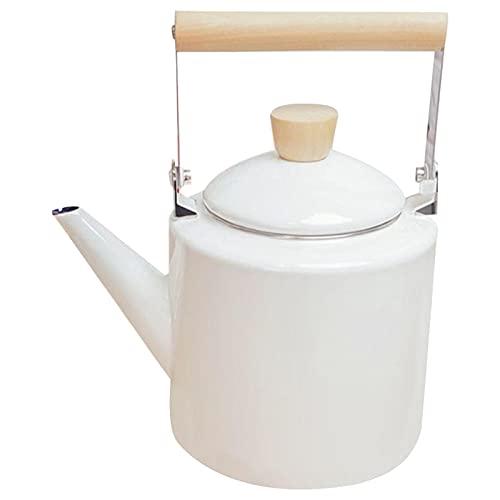 2 L Hervidores de silbidos con Mango a Prueba de Calor - Tetera esmaltada Estilo japonés Teteras for halógenos La mayoría de Las Estufas teteras de té (Color : White)