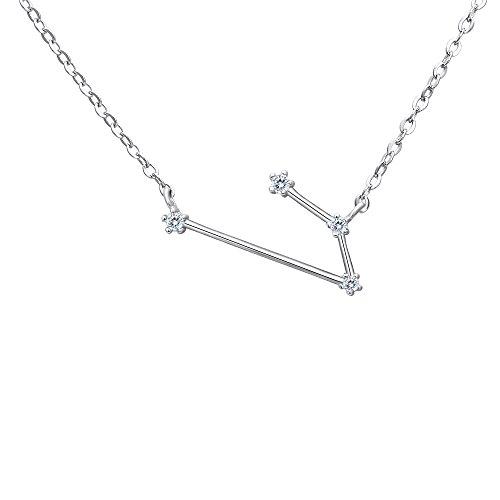 Clearine Collares de Mujer Serie de Constelación'Aries' Colgante Plata 925 Zirconia Cúbica Horóscopo Exclusivo para Regalo Boda Novia