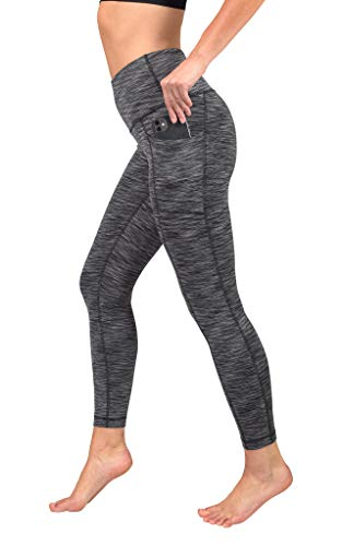 90 Degree By Reflex High Waist Tummy Control Interlink Squat Proof Ankle Length Leggings - Black Space Dye - XL