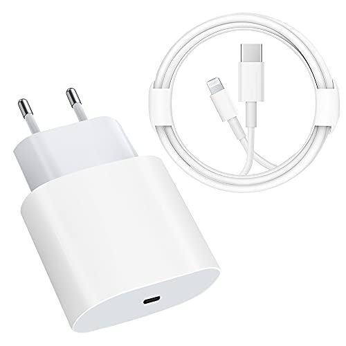 Cargador rápido USB C, certificado MFi, 20 W, con cable 4FT C a Lightning adaptador de cargador de tipo C para iPhone 12/12 Mini/12 Pro/12 Pro Max / 11 Pro Max iPad Pro