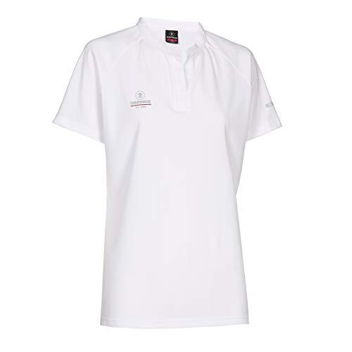 Sport Poloshirt Damen Kurzarme V Ausschnitt - tailliert T-Shirt für Frauen, schnelltrocknend, für Tennis, Badminton, Golf, Laufen, Fitness und Feldhockey, Weiß S