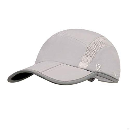 GADIEMKENSD Quick Dry Sports Hat Lightweight Breathable Soft Outdoor Running Cap (Folding Series, Light Grey)