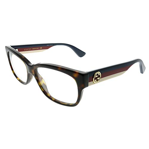 Gucci GG 0278O 002 Havana Plastic Rectangle Eyeglasses 53mm