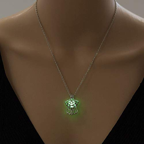 QUWE Stone Necklace,Elegant Green Luminous Hollow Dog Head Pendant Silver Long Chain Men Women Energy Balance Birthstone Gem Jewelry Gifts