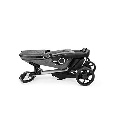 StokkeXplory V6 Black Chassis Stroller with Black Leatherette Handle, Black Melange
