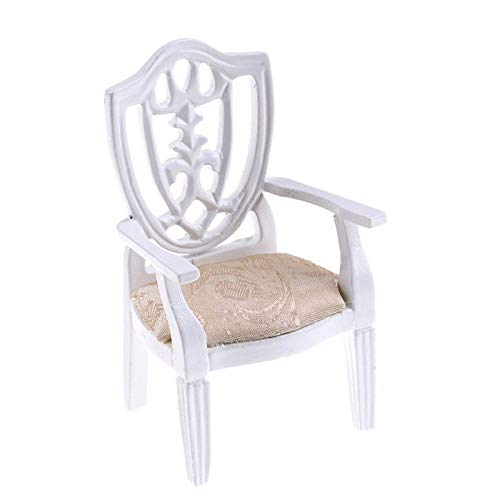 Miniature Furniture For 1/12 Dollhouse Wooden Upholstered Armchair Home Decor