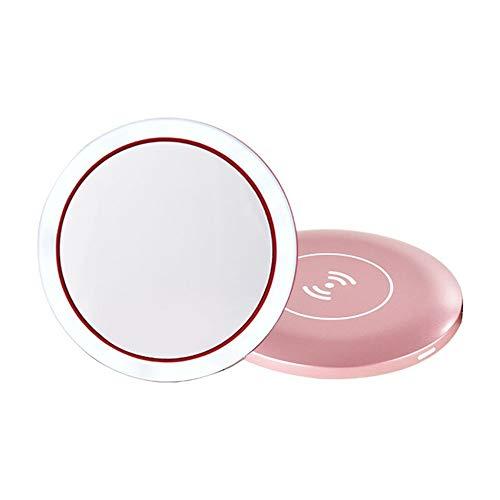 GOCF Miroir De Maquillage Portable Rechargeable LED Miroir de Maquillage avec Dimmable écran Tactile éclairage Miroir pour Le Maquillage De Comptoir (Color : Pink, Size : 10.6x1.2cm)