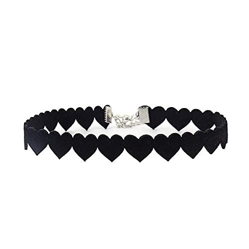 Choker Gargantilla Nuevo Collar Europeo y Americano Collar de corazón Negro Cordón de Cuero de superfibra Amor Cadena de clavícula Femenina