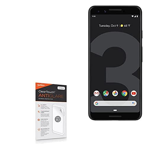 Película protetora de tela Google Pixel 3, BoxWave [antirreflexo ClearTouch (pacote com 2)] película fosca antidigitais para Google Pixel 3