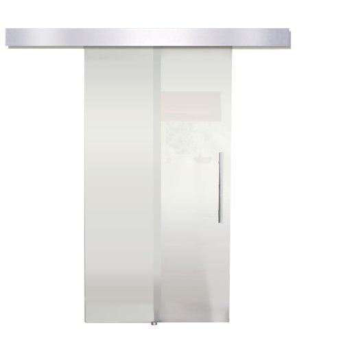 Glasschiebetür Glastür Schiebetür Alublende satiniert 205 x 90 cm