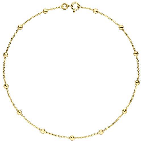 JOBO Damen-Fußkettchen aus 333 Gold mit Kugeln 25 cm