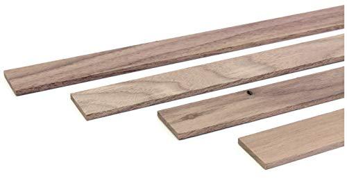 wodewa Holzleiste Wandleiste Nussbaum Natur 1m Abschlussleiste Holz 30x4mm Zierleiste für Wandverkleidung Decke Boden Abdeckleiste DIY Basteln