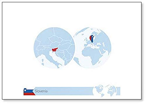 Slowenien On World Globe mit Flagge & Landkarte – klassischer Kühlschrankmagnet