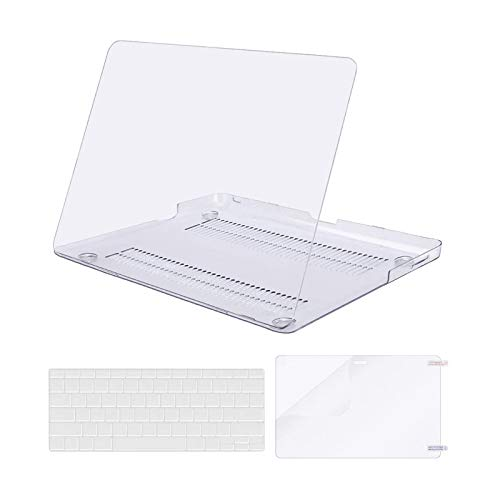 MOSISO Plastic Hard Shell Case & Keyboard Cover & Screen Protector Only Compatible with MacBook Pro 13 inch (A1278, Old Version with CD-ROM), Release Early 2012/2011/2010/2009/2008, Crystal Clear