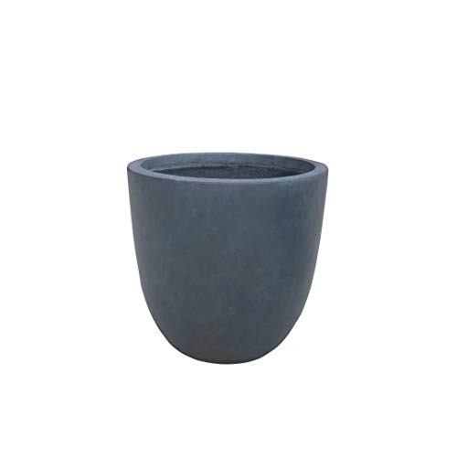 Kante RC0050C-C60121 Lightweight Concrete Modern Seamless Outdoor Round Planter, Charcoal