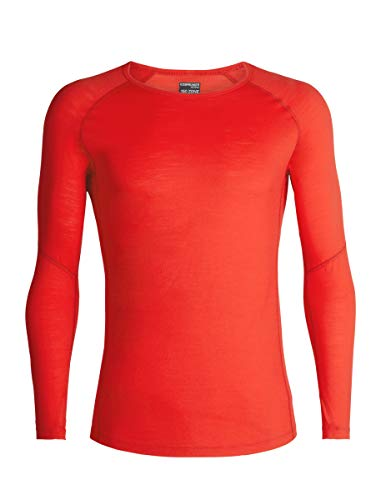 Icebreaker 150 Zone LS Crewe sous vêtement Technique Homme, Chili Red/Monsoon, FR : S (Taille Fabricant : S)