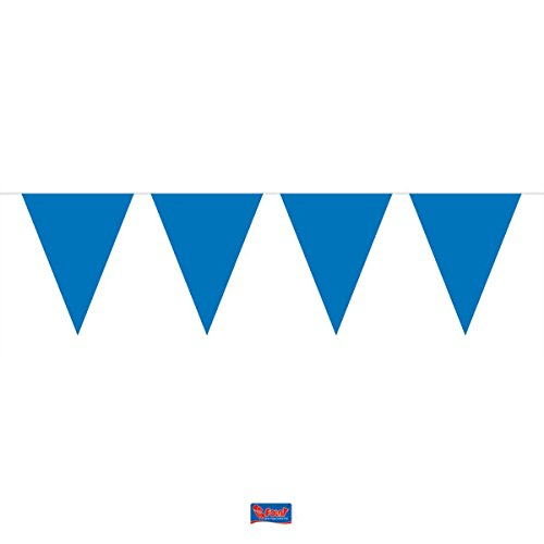 Bunting Blue 10 metres long with 15 Flags, Triangle, Plastic